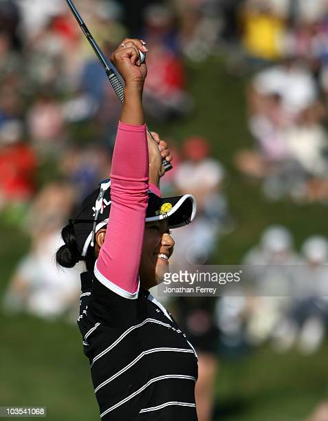 Ai Miyazato celebrates after winning the Safeway Classic at Pumpkin Ridge Golf Club on August 22 2010 in North Plains Oregon Miyazato claims the...