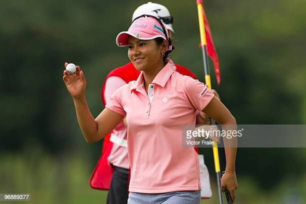 Ai Miyazato of Japan acknowledges the crowd on the 5th tee during round three of the Honda PTT LPGA Thailand at Siam Country Club on February 20 2010...