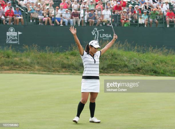 Ai Miyazato of Japan celebrates winning the ShopRite LPGA Classic held at Dolce Seaview Resort on June 20 2010 in Galloway New Jersey