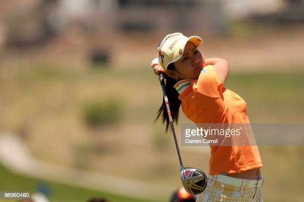 Ai Miyazato of Japan follows through on a tee shot during the fourth round of the Tres Marias Championship at the Tres Marias Country Club on May 2...