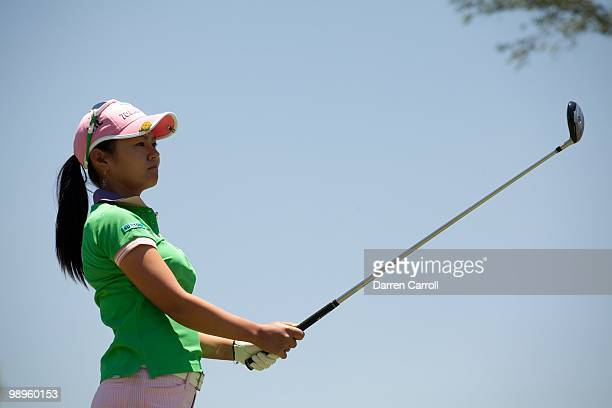 Ai Miyazato of Japan follows through on a tee shot during the second round of the Tres Marias Championship at the Tres Marias Country Club on April...