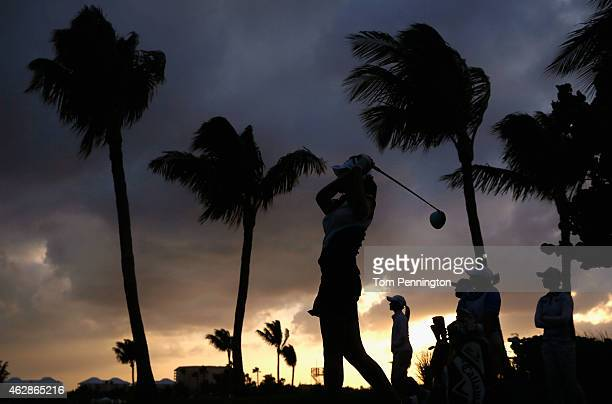 Ai Miyazato of Japan hits a tee shot on the 16th hole during round two of the Pure Silk Bahamas LPGA Classic at the Ocean Club course on February 6...