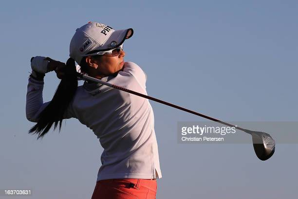 Ai Miyazato of Japan hits a tee shot on the 18th hole during the first round of the RR Donnelley LPGA Founders Cup at Wildfire Golf Club on March 14...