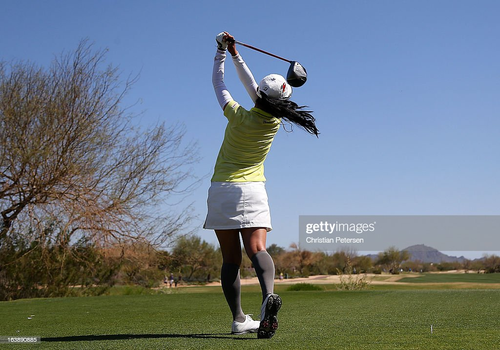 Ai Miyazato of Japan hits a tee shot on the second hole during the final round of the RR Donnelley LPGA Founders Cup at Wildfire Golf Club on March 17, 2013 in Phoenix, Arizona.