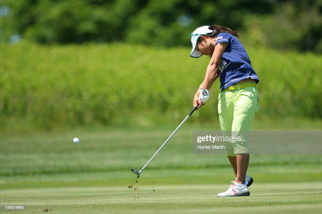 Ai Miyazato of Japan hits her second shot on the 14th hole during the first round of the Sybase Match Play Championship at Hamilton Farm Golf Club on May 20, 2010 in Gladstone, New Jersey.