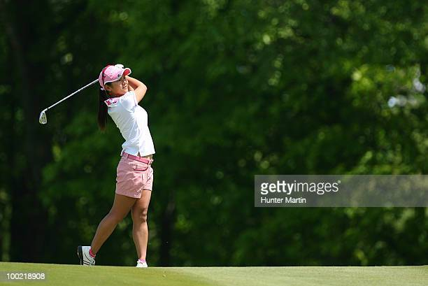 Ai Miyazato of Japan hits her second shot on the second hole during the second round of the Sybase Match Play Championship at Hamilton Farm Golf Club...
