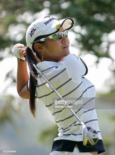 Ai Miyazato of Japan hits her tee shot on the 12th hole during the final round of the ShopRite LPGA Classic held at Dolce Seaview Resort on June 20...