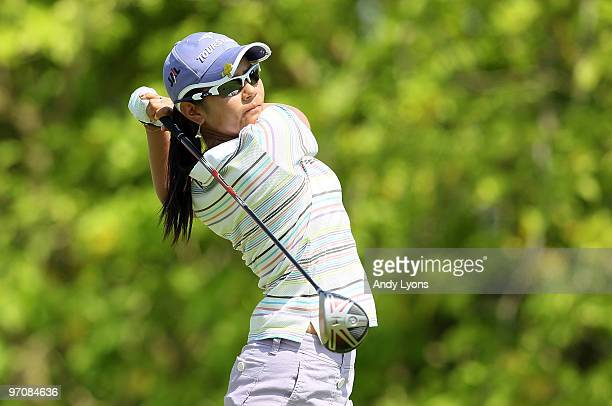 Ai Miyazato of Japan hits her tee shot on the 6th hole during the second round of the HSBC Women's Champions at Tanah Merah Country Club on February...