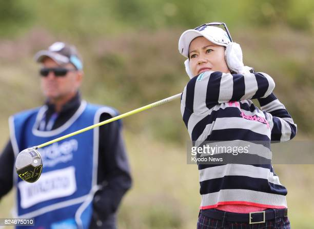 Ai Miyazato of Japan hits her tee shot on the second hole during the final round of the Ladies Scottish Open at Dundonald Links in Gailes Scotland on...