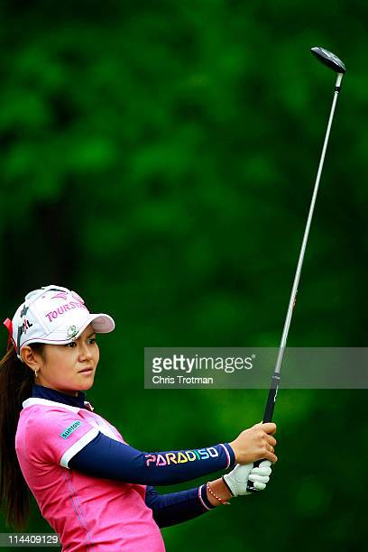 Ai Miyazato of Japan hits her tee shot on the third hole during round one of the Sybase Match Play Championship at Hamilton Farm Golf Club on May 19...