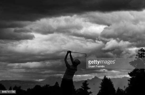 Ai Miyazato of Japan plays a shot during the first round of The Evian Championship at Evian Resort Golf Club on September 14 2017 in EvianlesBains...
