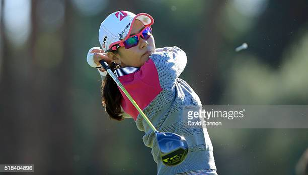 Ai Miyazato of Japan plays her tee shot at the par 4 third hole during the first round of the 2016 ANA Inspiration at Mission Hills Country Club on...