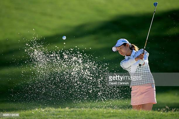 Ai Miyazato of Japan plays her third shot at the par 4 first hole during the second round of the ANA Inspiration on the Dinah Shore Tournament Course...