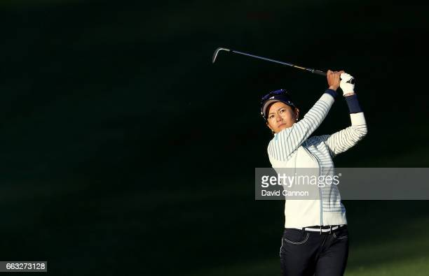 Ai Miyazato of Japan plays her third shot at the par 5 ninth hole during the completion of the second round of the 2017 ANA Inspiration held on the...