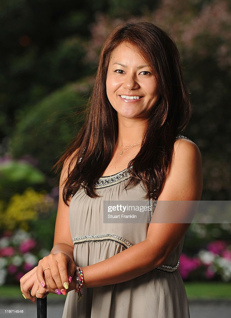 Ai Miyazato of Japan poses for a picture at the gala dinner after the third round of the Evian Masters at the Evian Masters golf club on July 23, 2011 in Evian-les-Bains, France.