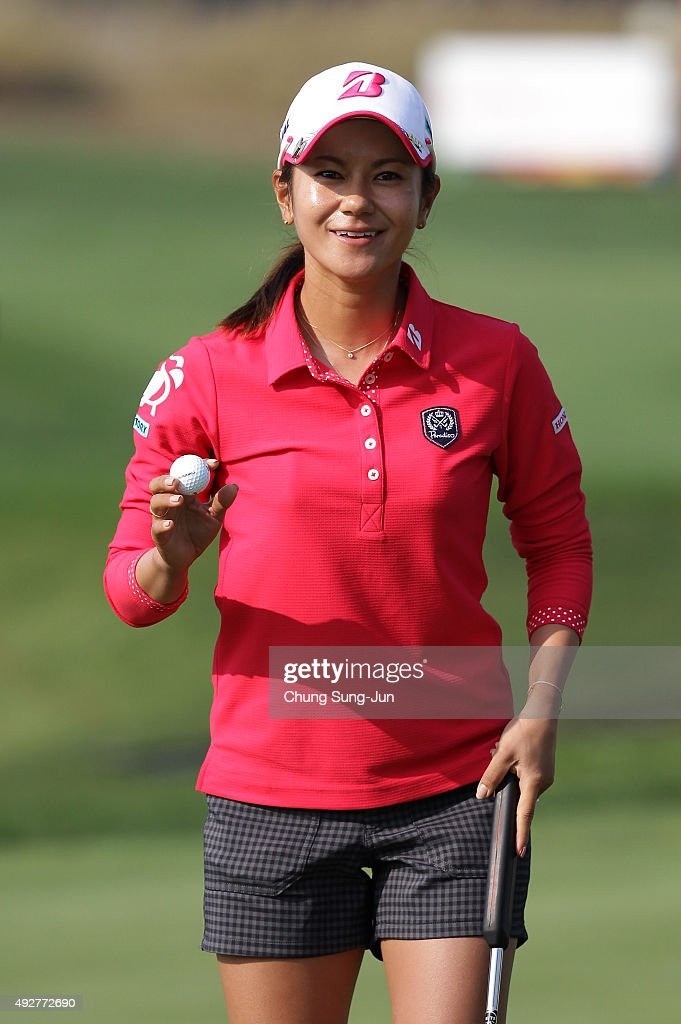 Ai Miyazato of Japan reacts after a putt on the 18th green during the first round of LPGA KEB-HanaBank Championship at Sky 72 Golf Club Ocean Course on Ocober 15, 2015 in Incheon, South Korea.