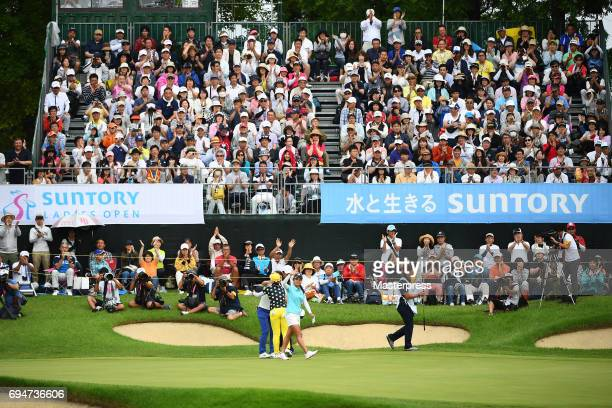 Ai Miyazato of Japan reacts on the 18th green after the final round of the Suntory Ladies Open at the Rokko Kokusai Golf Club on June 11 2017 in Kobe...
