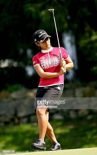 Ai Miyazato of Japan reacts to a missed putt on the 11th hole during the final round of the HSBC Women's World Match Play at Wykagyl Country Club on...