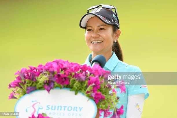 Ai Miyazato of Japan speaks during the final round of the Suntory Ladies Open at the Rokko Kokusai Golf Club on June 11 2017 in Kobe Japan