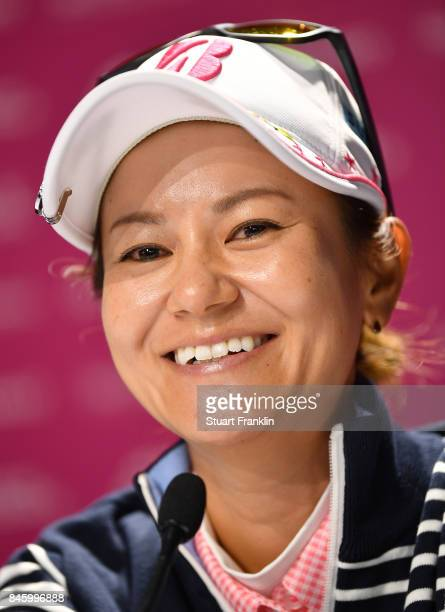 Ai Miyazato of Japan speaks to the media during a press conference prior to the start of The Evian Championship at Evian Resort Golf Club on...