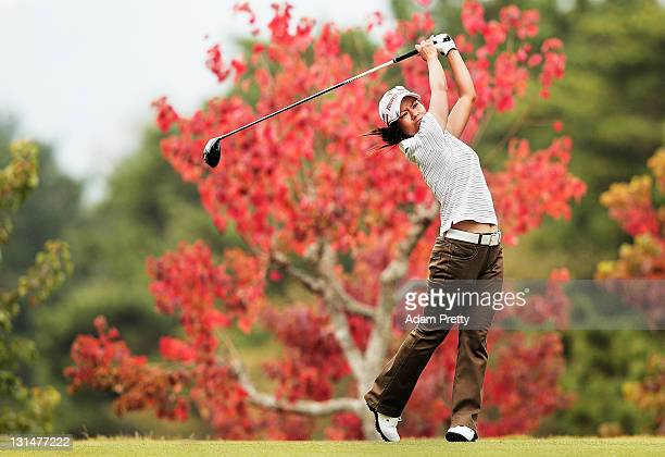 Ai Miyazato of Japan tees off during the second round of the Mizuno Classic at Kintetsu Kashikojima Country Club on November 5 2011 in Shima Japan