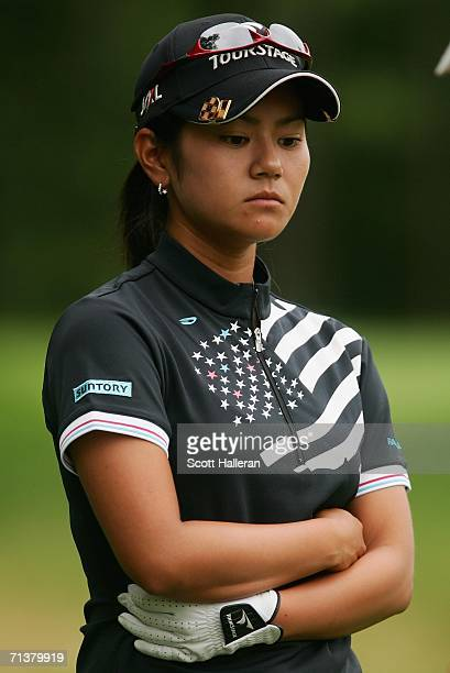 Ai Miyazato of Japan waits on the third tee during the first round of the HSBC Women's World Match Play Championship at Hamilton Farm Golf Club on...