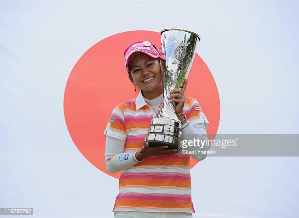 Ai Miyazato of Japan with the trophy for winning the Evian Masters at the Evian Masters golf club on July 23 2011 in EvianlesBains France