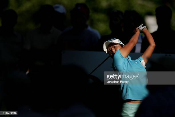 Ai Miyazato tees off on the 11th hole during the second round of the LPGA Safeway Classic on August 19 2006 at Columbia Edgewater Country Club in...