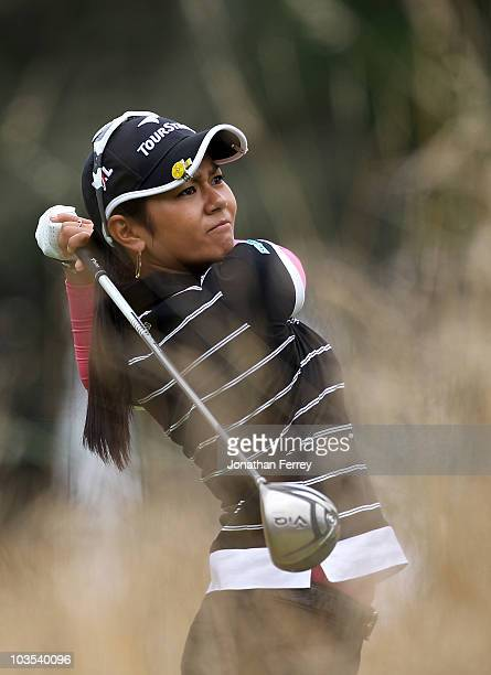 Ai Miyazato tees off on the 4th hole during the final round of the Safeway Classic at Pumpkin Ridge Golf Club on August 22 2010 in North Plains Oregon