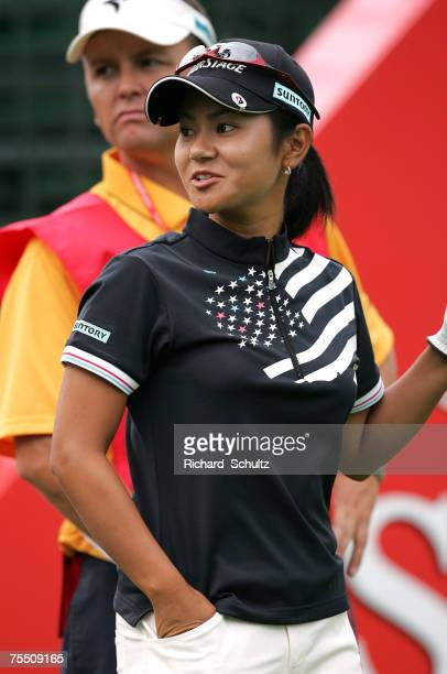 Ai Miyazato waits to tee off on the 1st hole during first round action of the HSBC Women's World Match Play Championship at Hamilton Farm Golf Club...