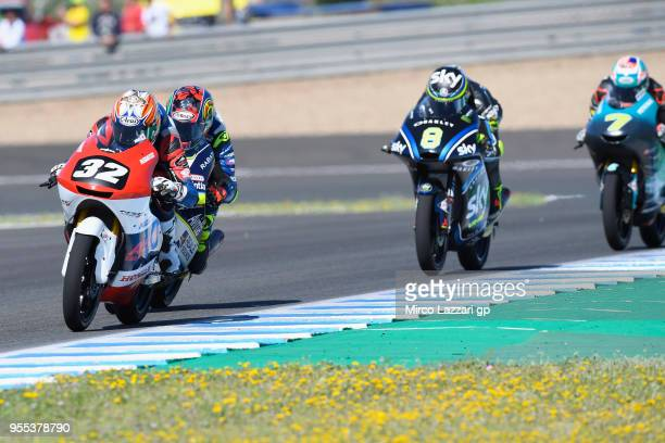 Ai Ogura of Japan and Asian Talent Team leads the field during the Moto3 race during the MotoGp of Spain Race at Circuito de Jerez on May 6 2018 in...