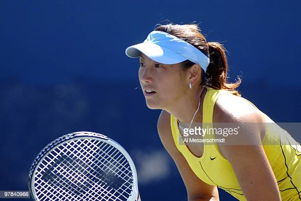 Ai Sugiyama competes with Daniela Hantuchova in a women's doubles match at the 2005 U S Open in Flushing New York Hantuchova / Sugiyama fell to Zi...