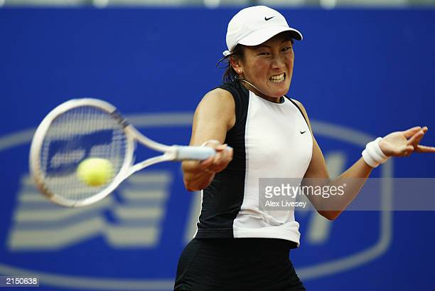 Ai Sugiyama of Japan hits a forehand return during her quarterfinal match in the WTA Telecom Italia Masters tournament held on May 16 2003 at the...
