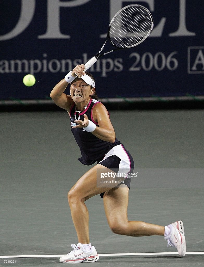 Ai Sugiyama of Japan returns the ball against Yung Jan Chan of Taipei during the AIG Japan Open Tennis Championship 2006 on October 6, 2006 in Tokyo, Japan. The tournament takes place from October 2 to 8.