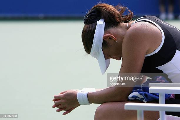 Ai Sugiyama of Japan shows her disappointment in her first round match against Nadia Petrova of Russia on day two of the Toray Pan Pacific Open...