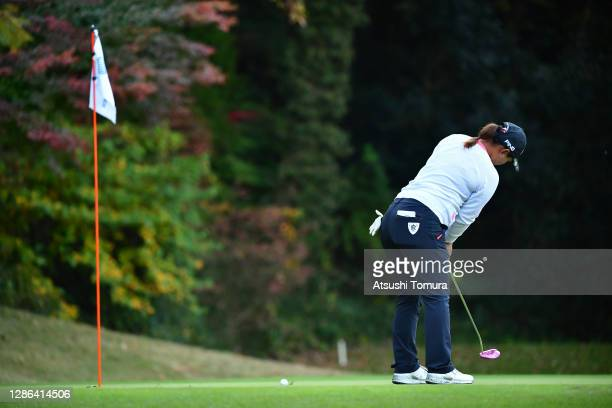 Ai Suzuki of Japan attempts a putt on the 10th green during the first round of the Daio Paper Elleair Ladies Open at the Elleair Golf Club Matsuyama...