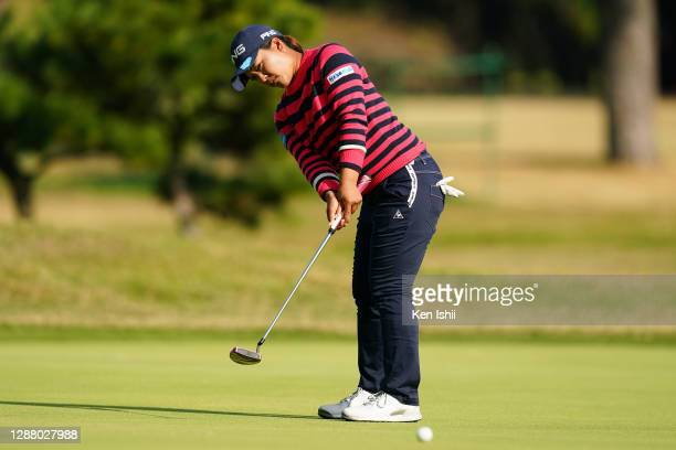 Ai Suzuki of Japan attempts a putt on the 15th green during the second round of the JLPGA Tour Championship Ricoh Cup at the Miyazaki Country Club on...