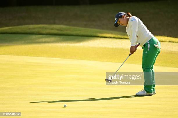 Ai Suzuki of Japan attempts a putt on the 3rd green during the second round of the Ito-En Ladies Golf Tournament at the Great Island Club on November...