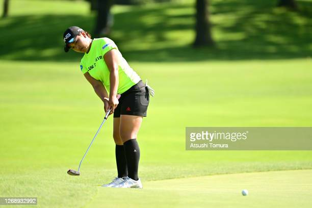 Ai Suzuki of Japan attmpts a putt on the 11th green during the first round of the Nitori Ladies Golf Tournament at the Otaru Country Club on August...