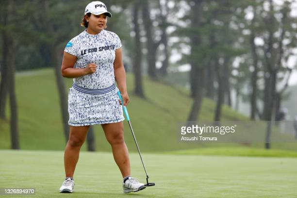 Ai Suzuki of Japan celebrates holing the par putt on the 18th green during the final round of the Shiseido Ladies Open at Totsuka Country Club on...