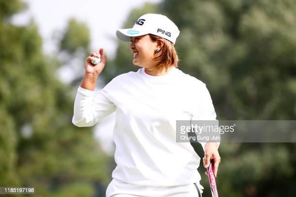 Ai Suzuki of Japan celebrates the birdie on the 6th green during the final round of the Hisako Higuchi Mitsubishi Electric Ladies at Musashigaoka...