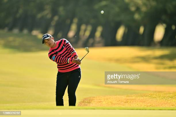 Ai Suzuki of Japan chips onto the 13th green during the second round of the JLPGA Tour Championship Ricoh Cup at the Miyazaki Country Club on...