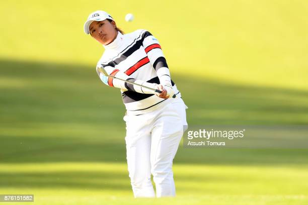 Ai Suzuki of Japan chips onto the 15th green during the final round of the Daio Paper Elleair Ladies Open 2017 at the Elleair Golf Club on November...