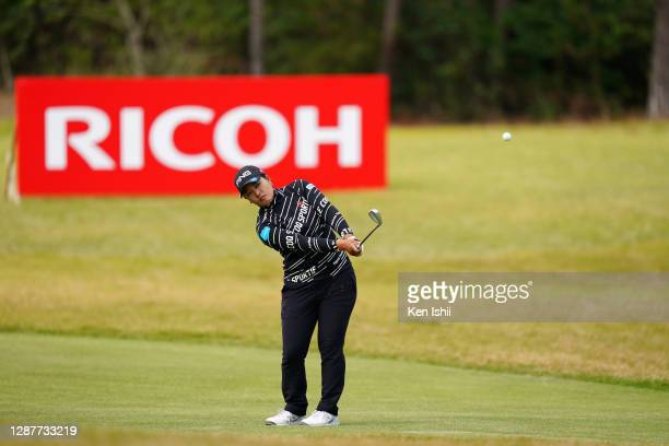 Ai Suzuki of Japan hits an approach on the 3rd hole during the first round of the JLPGA Tour Championship Ricoh Cup at the Miyazaki Country Club on...