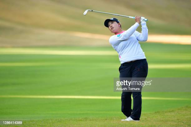 Ai Suzuki of Japan hits her second shot on the 10th hole during the first round of the Daio Paper Elleair Ladies Open at the Elleair Golf Club...