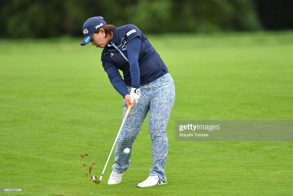 Ai Suzuki of Japan hits her second shot on the 10th hole during the second round of the Nipponham Ladies Classic at the Ambix Hakodate Club on July 7, 2018 in Hokuto, Hokkaido, Japan.
