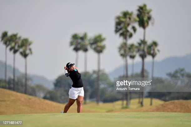 Ai Suzuki of Japan hits her second shot on the 11th hole during the first round of the JLPGA Championship Konica Minolta Cup at the JFE Setonaikai...