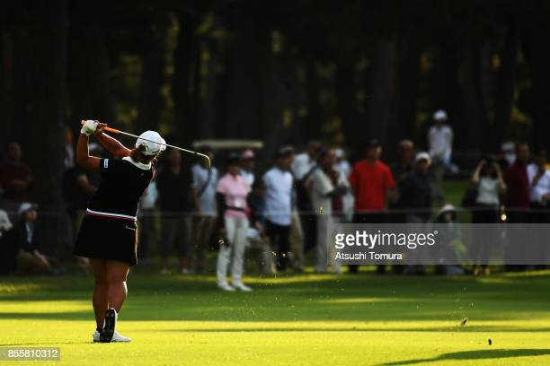 Ai Suzuki of Japan hits her second shot on the 17th hole during the third round of Japan Women's Open 2017 at the Abiko Golf Club on September 30...