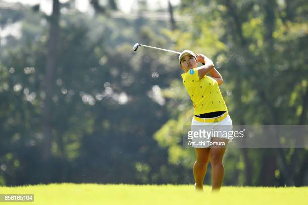 Ai Suzuki of Japan hits her second shot on the 2nd hole during the final round of Japan Women's Open 2017 at the Abiko Golf Club on October 1 2017 in...