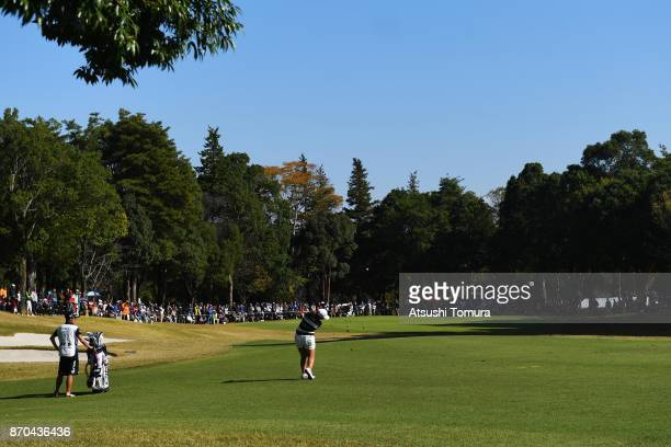 Ai Suzuki of Japan hits her second shot on the 2nd hole during the final round of the TOTO Japan Classics 2017 at the Taiheiyo Club Minori Course on...
